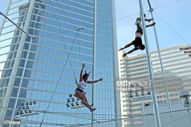 Olivia Blois Sharpe performs on trapeze at Trump Taj Mahal on July 6 2012 in Atlantic City New Jersey
