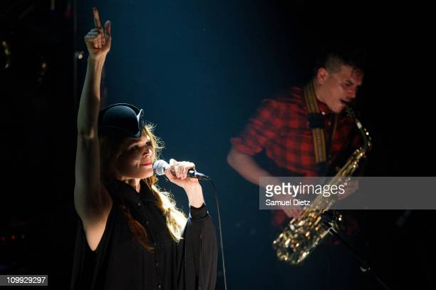 Olivia BouyssouMerilahti and Dan Levy of The Do perform live at Le Theatre du Trianon on March 10 2011 in Paris France