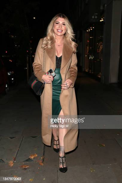 Olivia Bowen seen on a night out at OURS restaurant on October 21, 2021 in London, England.
