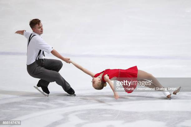 Olivia Boys Eddy and Mackenzie Boys Eddy of Canada performs in the Junior Pairs Short Program during day two of the ISU Junior Grand Prix of Figure...