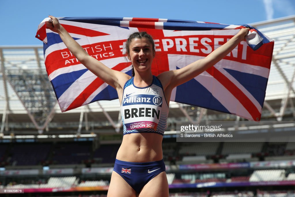 Olivia Breen of Great Britain celebrates winning the gold medal in the Women's Long Jump T38 Final during Day Four of the IPC World ParaAthletics Championships 2017 London at London Stadium on July 17, 2017 in London, England.