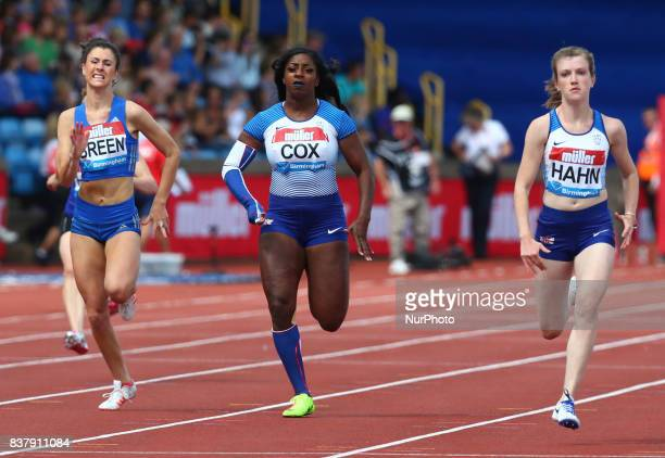 LR Olivia BREEN of Great Britain Kadeena COX of Great Britain and Sophie HAHN of Great Britain competes in the 100m T37/38 Women during Muller Grand...