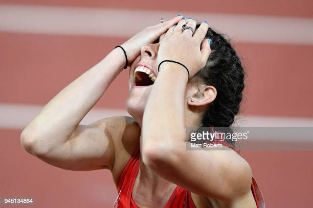 Olivia Breen of Wales celebrates as she wins bronze in the Women's T38 100m Final during athletics on day eight of the Gold Coast 2018 Commonwealth...