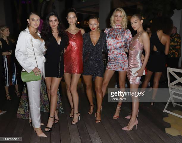 Olivia Brower Anne de Paula Robin Holzken Camille Kostek Hailey Clauson and Jasmine Sanders attend the Sports Illustrated Swimsuit Kick Off Party for...