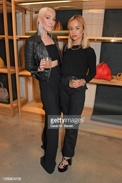 Olivia Buckingham and Lady Amelia Windsor attend the Mulberry Made to Last dinner on February 14 2020 in London England