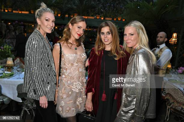 Olivia Buckingham Eugenie Niarchos Princess Beatrice of York and Alice NaylorLeyland attend the Annabel's x Dior dinner on May 21 2018 in London...