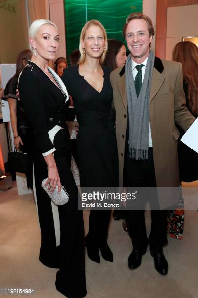 Olivia Buckingham, Lady Gabriella Windsor and Thomas Kingston attend the launch of the Pragnell collection created in collaboration with Lady Emily...