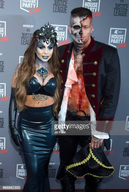 Olivia Buckland and Alex Bowan attend the Kiss Haunted House Party held at SSE Arena on October 26 2017 in London England