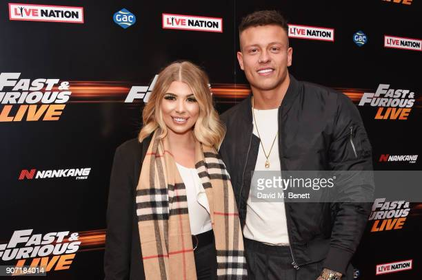Olivia Buckland and Alex Bowen attend the Global Premiere of 'Fast and Furious Live' at The O2 Arena on January 19 2018 in London England