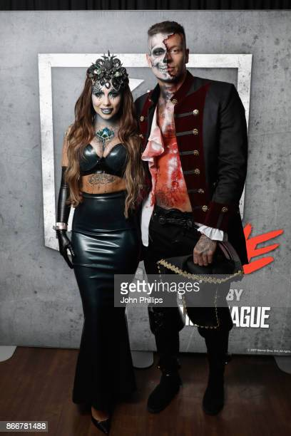 Olivia Buckland and Alex Bowen attend the Kiss Haunted House Party held at SSE Arena on October 26 2017 in London England