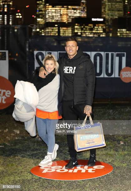Olivia Buckland and Alex Bowen pose for a photo during the Sleep Out Fundraiser at Greenwich Peninsula on November 16 2017 in London England The...