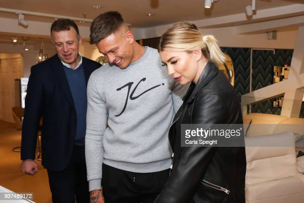 E Olivia Buckland and Alex Bowen shopping for their new home in Arighi Bianchi ahead of their wedding on March 24 2018 in Macclesfield England