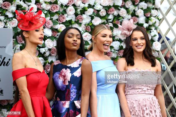 Olivia Buckland Helen Flanagan and other racegoers attend Ladies Day at Aintree Racecourse on April 05 2019 in Liverpool England