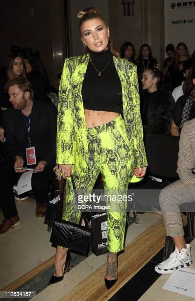 Olivia Buckland in the Front row at the Rocky Star Catwalk Show Autumn Winter 2019 at offschedule London Fashion Week show at the Freemasons Hall