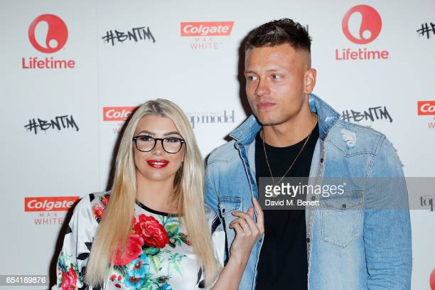 Olivia Buckland with Alex Bowen attends Lifetime's launch of Britain's Next Top Model airing tonight at 9pm on Lifetime on March 16 2017 in London...