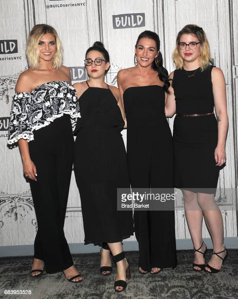 Olivia Caridi Emma Gray Alexis Waters and Claire Fallon attend a discussion of the 'Bachelorette' with the 'Here To Make Friends' Podcast at Build...