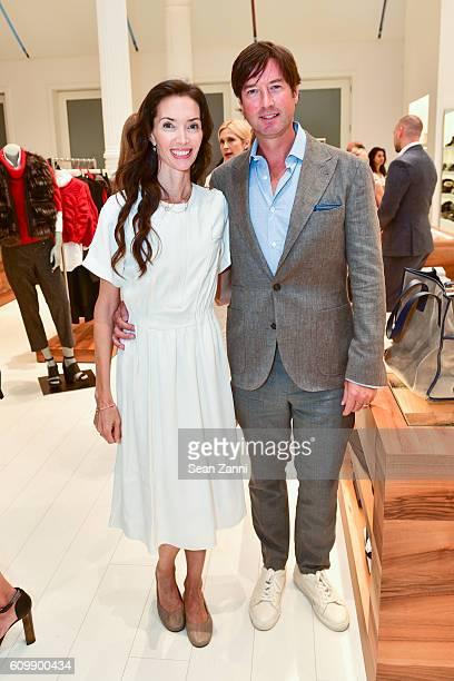 Olivia Chantelcaille and Ran Grady attend An Intimate Conversation with Deepak Chopra Brunello Cucinelli Harper's Bazaar at Brunello Cucinelli Soho...