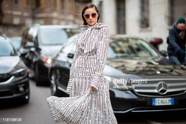 Olivia Clupo is seen wearing dress outside Ferragamo on Day 4 Milan Fashion Week Autumn/Winter 2019/20 on February 23 2019 in Milan Italy