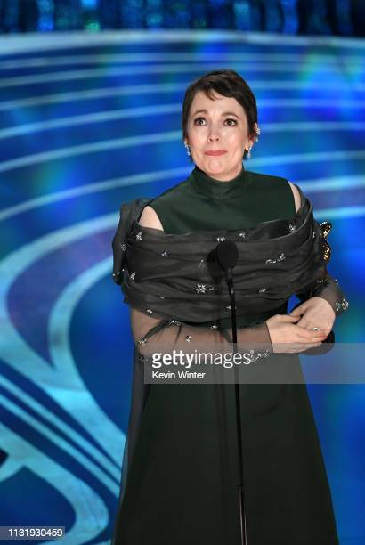 Olivia Colman accepts the Actress in a Leading Role award for 'The Favourite' onstage during the 91st Annual Academy Awards at Dolby Theatre on...