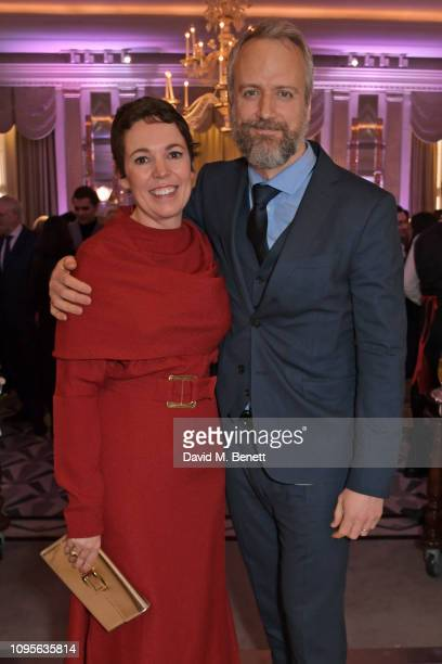 Olivia Colman and Ed Sinclair attend attends the 91st Academy Awards Champagne Tea Reception at Claridge's Hotel on February 8, 2019 in London,...
