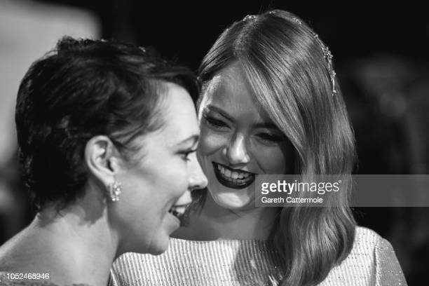 Olivia Colman and Emma Stone attend the UK Premiere of 'The Favourite' American Express Gala at the 62nd BFI London Film Festival on October 18 2018...