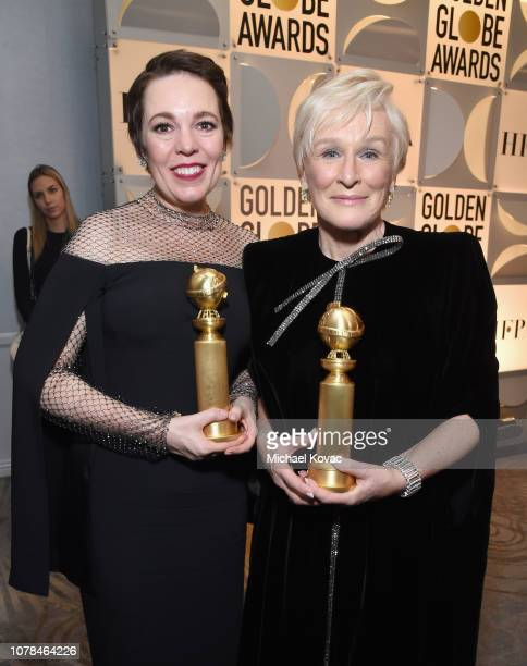 Olivia Colman and Glenn Close pose with awards at Moet Chandon at The 76th Annual Golden Globe Awards at The Beverly Hilton Hotel on January 6 2019...