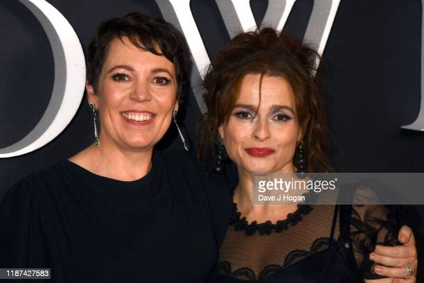Olivia Colman and Helena Bonham Carter attend The Crown season 3 world premiere at The Curzon Mayfair on November 13 2019 in London England