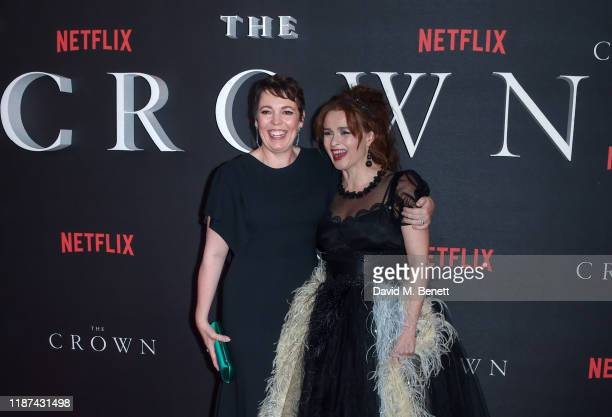 "Olivia Colman and Helena Bonham Carter attend the World Premiere of Netflix Original Series ""The Crown"" Season 3 at The Curzon Mayfair on November..."