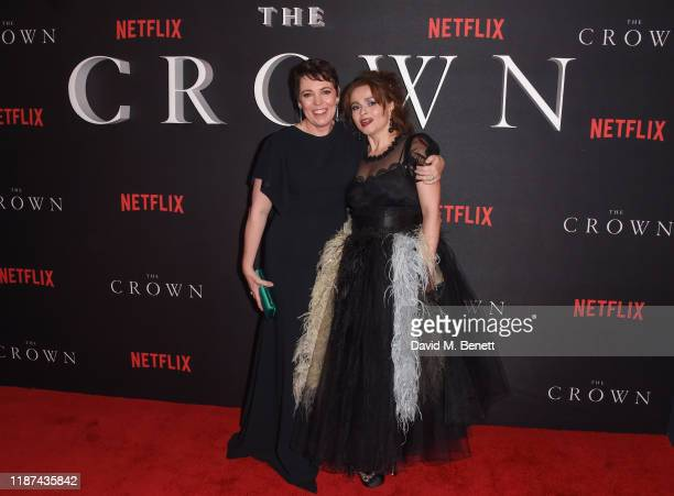 Olivia Colman and Helena Bonham Carter attend the World Premiere of Netflix Original Series The Crown Season 3 at The Curzon Mayfair on November 13...
