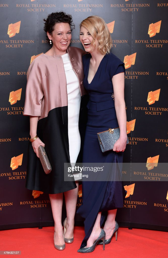 Olivia Colman and Jodie Whittaker attend the RTS programme awards at Grosvenor House, on March 18, 2014 in London, England.