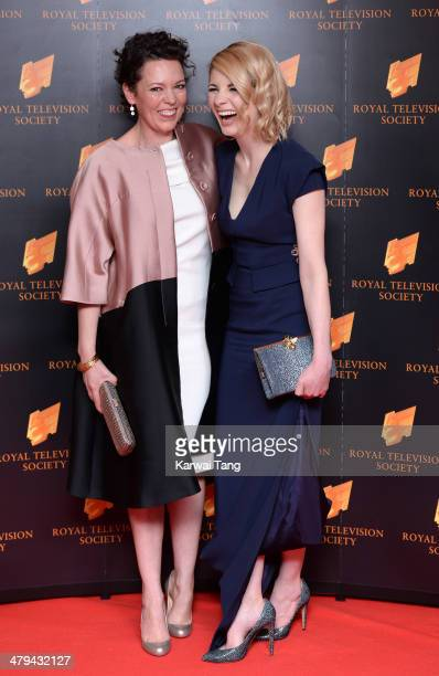 Olivia Colman and Jodie Whittaker attend the RTS programme awards at Grosvenor House on March 18 2014 in London England