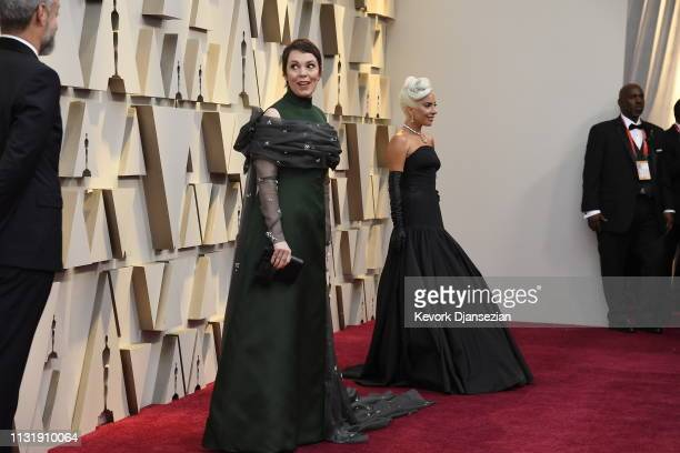 Olivia Colman and Lady Gaga attend the 91st Annual Academy Awards at Hollywood and Highland on February 24 2019 in Hollywood California