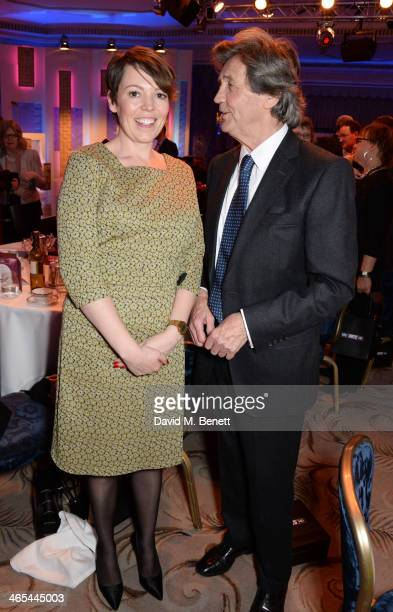 Olivia Colman and Lord Melvyn Bragg attend the South Bank Sky Arts awards at the Dorchester Hotel on January 27 2014 in London England