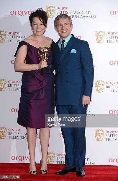 Olivia Colman and Martin Freeman pose in the press room at the Arqiva British Academy Television Awards 2013 at the Royal Festival Hall on May 12...