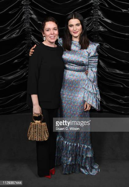 Olivia Colman and Rachel Weisz attend The Favourite London QA at Twentieth Century Fox on February 12 2019 in London England