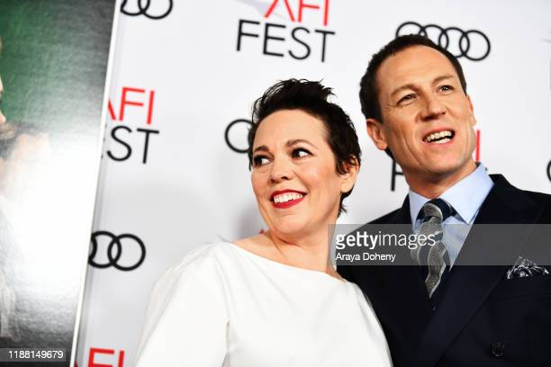 Olivia Colman and Tobias Menzies attend AFI Fest The Crown Peter Morgan Tribute at TCL Chinese Theatre on November 16 2019 in Hollywood California