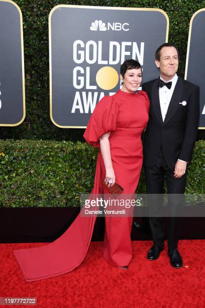 Olivia Colman and Tobias Menzies attend the 77th Annual Golden Globe Awards at The Beverly Hilton Hotel on January 05 2020 in Beverly Hills California