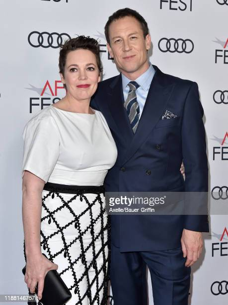 Olivia Colman and Tobias Menzies attend The Crown Premiere at AFI FEST 2019 presented by Audi at TCL Chinese Theatre on November 16 2019 in Hollywood...