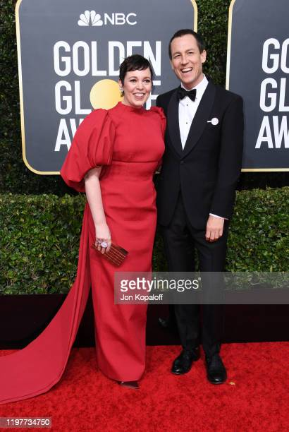 Olivia Colman and Tobias Menzies attends the 77th Annual Golden Globe Awards at The Beverly Hilton Hotel on January 05 2020 in Beverly Hills...