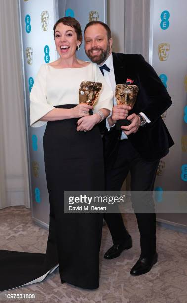 Olivia Colman and Yorgos Lanthimos attend the EE British Academy Film Awards gala dinner at The Grosvenor House Hotel on February 10, 2019 in London,...
