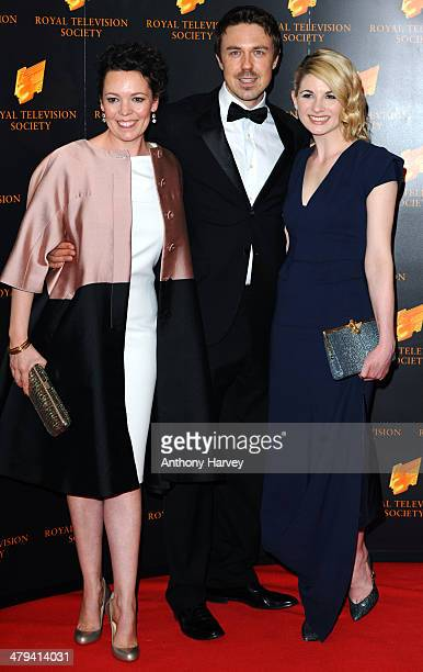 Olivia Colman Andrew Buchan and Jodie Whittaker attend the RTS programme awards at Grosvenor House on March 18 2014 in London England