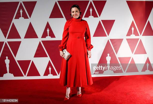 Olivia Colman arrives at a screening of the Oscars on Monday, April 26, 2021 in London, United Kingdom.
