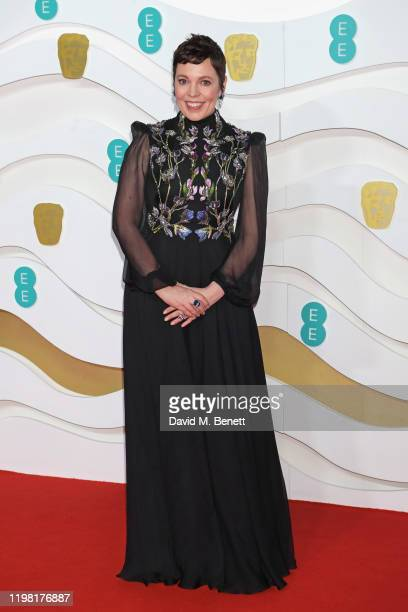 Olivia Colman arrives at the EE British Academy Film Awards 2020 at Royal Albert Hall on February 2 2020 in London England