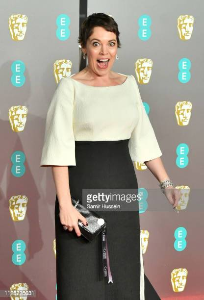 Olivia Colman arrives at the EE British Academy Film Awards at Royal Albert Hall on February 10 2019 in London England