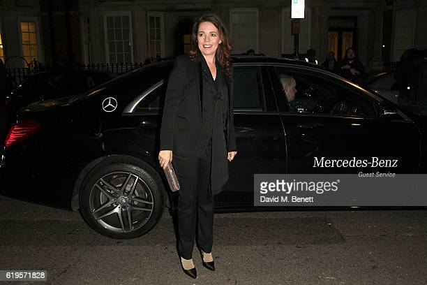 Olivia Colman arrives in style in a MercedesBenz at the Harper's Bazaar Women of the Year 2016 at Claridges Hotel on October 31 2016 in London England