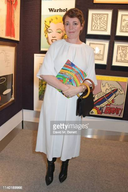 Olivia Colman attends 'Art For Eve', a charity auction in aid of The Eve Appeal, at Bonhams on April 29, 2019 in London, England.
