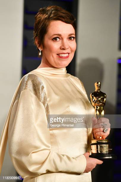 Olivia Colman attends the 2019 Vanity Fair Oscar Party hosted by Radhika Jones at Wallis Annenberg Center for the Performing Arts on February 24,...