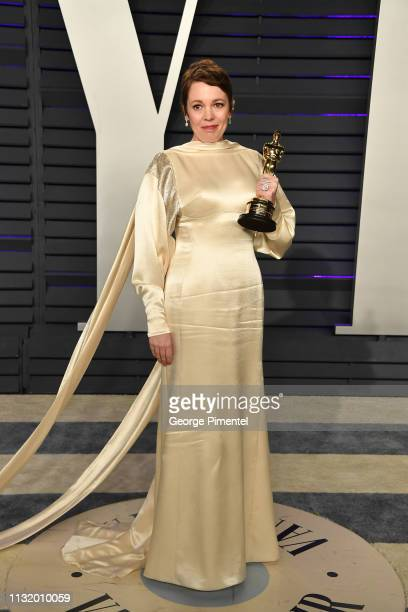Olivia Colman attends the 2019 Vanity Fair Oscar Party hosted by Radhika Jones at Wallis Annenberg Center for the Performing Arts on February 24 2019...