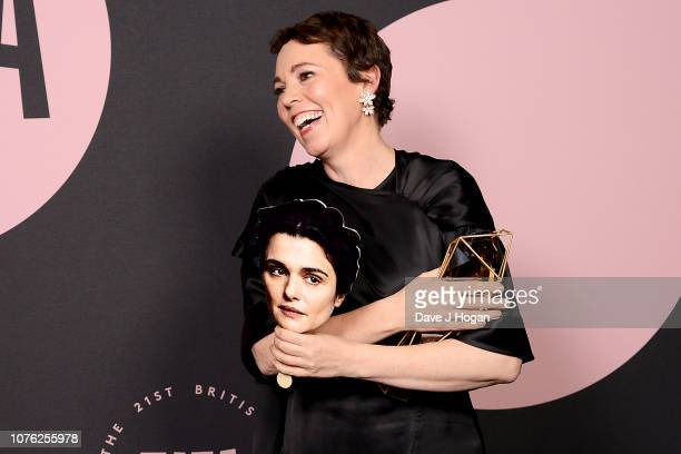 Olivia Colman collects the award for Best Supporting Actress for 'The Favourite' on behalf of Rachel Weisz in the winners room at the 21st British...