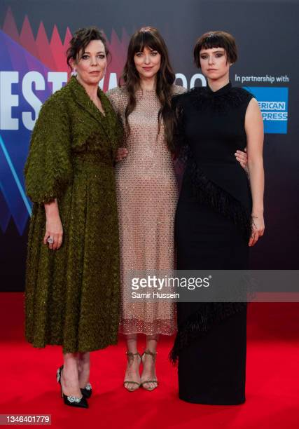"""Olivia Colman, Dakota Johnson and Jessie Buckley attend """"The Lost Daughter"""" UK Premiere during the 65th BFI London Film Festival at The Royal..."""